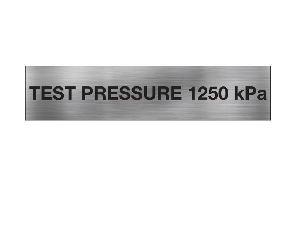 Test Pressure 1250 kPa
