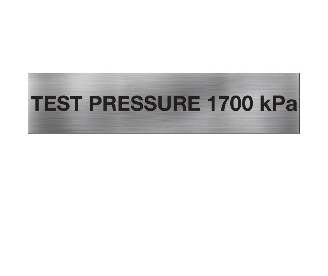 Test Pressure 1700 kPa