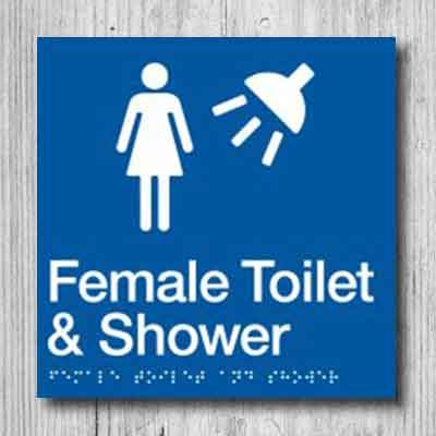 Female Toilet & Shower Sign FTS-BLUE